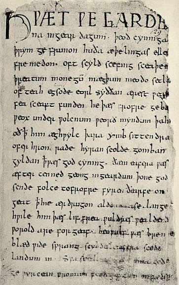 Poetry, first page of the Old English epic poem Beowulf